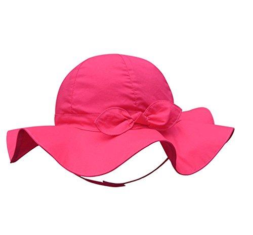 Pormow Frühjahr/Sommer Baumwolle Baby Mädchen Bowknot SonnenHut/Beach Hut/Outdoor Hut (43cm/3-6m, Rose - Rote Mütze Baby