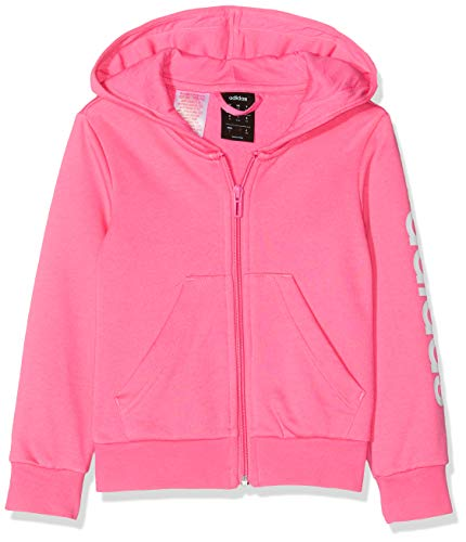 adidas Performance Essentials Linear Kapuzenjacke Kinder rosa/weiß, 140
