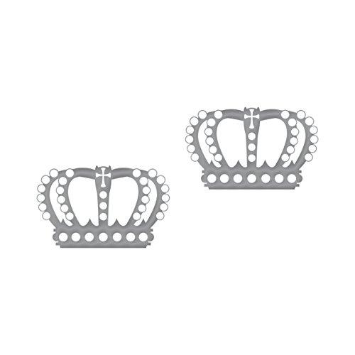 2 Stück Krone 12cm silber metallic König Königin Aufkleber Tattoo die cut Deko (Und Kronen Königin König)