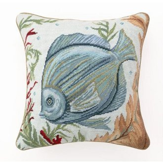 Jtartstore Sea Life Fish Needlepoint Pillow 18 x 18 inches
