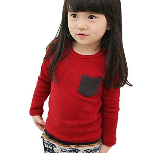 Minuya Kleinkind Baby Langarm Crewneck T-Shirt Tasche Boy Girl Shirt Top Kleidung (Mädchen Tee Crewneck Langarm)