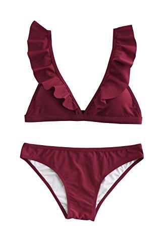 1147d2f626b03 Outgobuy Frauen Badeanzug Push Up Bademode Rüschen Halter Bikini Set Strand  Badeanzug (Weinrot, Large
