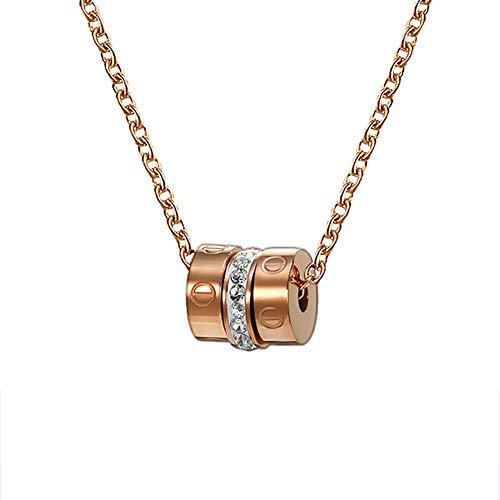 SXSHYUJE Geschenk Halskette zum Frau Prinzessin Halskette Titanstahl Kette Fein Geschenk Elegant Schmuck Box, Symbolisieren Glück und Erneuerung Halsketten, Rose Gold -