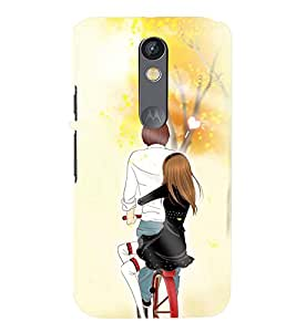 Printvisa Romantic Pair On A Bicycle Back Case Cover for Motorola Moto X Play