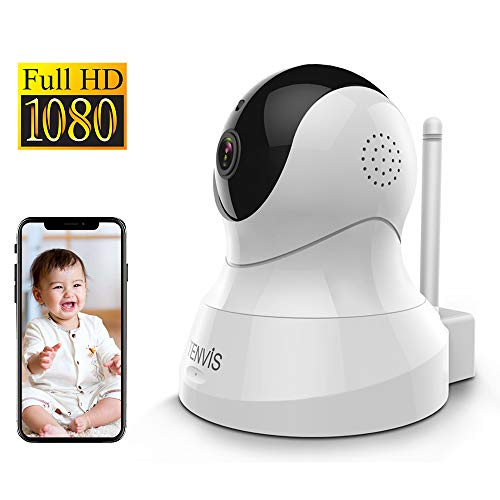 TENVIS FHD 1080P IP Camera, Videocamera Sorveglianza Interno WiFi, 360° Rilevamento Movimento Con Funzione Pan/Tilt/Zoom, Visione Notturna, Audio Bidirezionale, per Baby/Pet/Monitor Babysitter