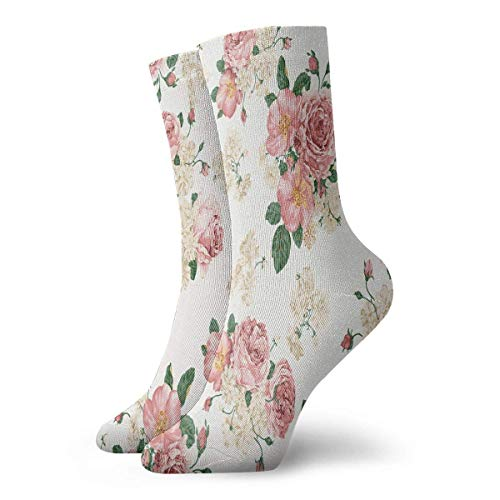 Sportliche Herrensocken Crew Socks Watercolor Floral Pattern Fantastic Unisex Dress Stocking Decor Sock Clearance for Girls Watercolor Floral Dress