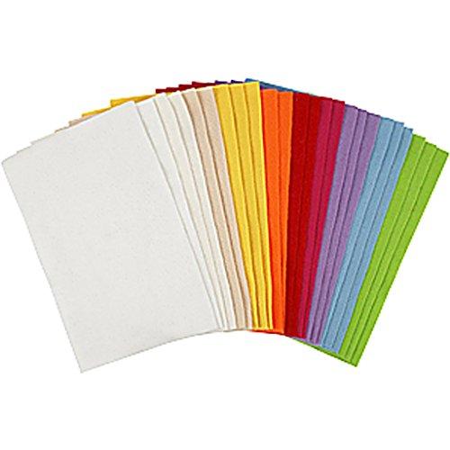 Fogli di feltro - assortimento, foglio 20x30 cm, colori asst., fogli, 24ff asst. - Feltro Bianco
