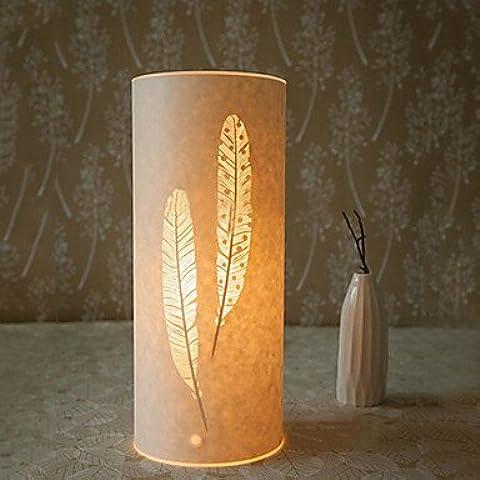 Lámpara de piso 1 Classic Light Feather Patten Tulipa de Pergamino 220V