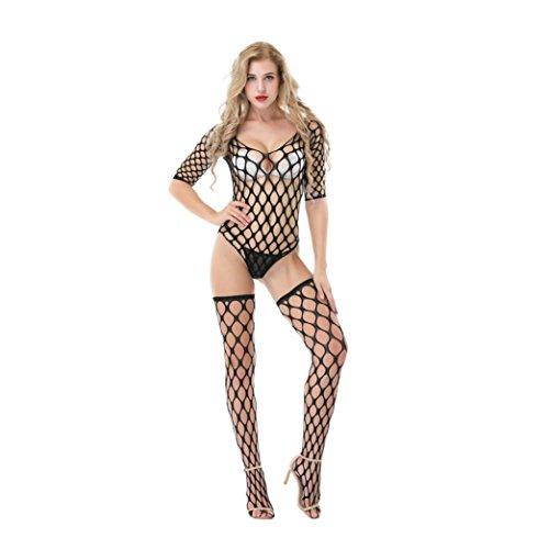Zarupeng Damen Offen Crotch Bodysuit Strümpfe Overall Unterwäsche Fischnetz Pyjama Dessous (One Size, Schwarz)