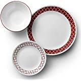 Corelle Livingware Dinner Set-18 Pieces, Crimson Trellis -Made in USA