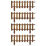 Floranica® Stecca Recinzione Ornamentale in Legno, Altezza 30 cm, per Giardino, Prato, Cortile - steccato in 2 Colori, impregnata, Colore:Marrone, Set:Set di 4 (4 x 105 cm)