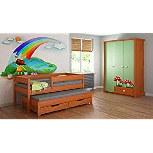 Children's Beds Home Trundle Bed For Kids Children Juniors with 2 Foam - Coconut Fibre Mattress and Drawers Included (200x90, Alder)   2