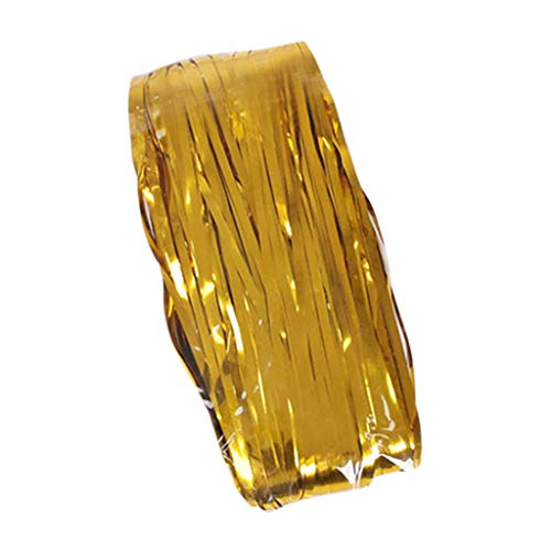 Mitsutomi Vorhang Blickdicht Verdunklungsgardine Gardinen - Wohnzimmer 4er Pack Folienvorhänge Metallic Fringe Curtains Shimmer Curtain für Geburtstags-Hochzeitsfeier-LKW Gardinen-5m -