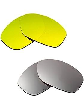 Hkuco Plus Mens Replacement Lenses For Oakley Pit Bull 24K Gold/Titanium Sunglasses