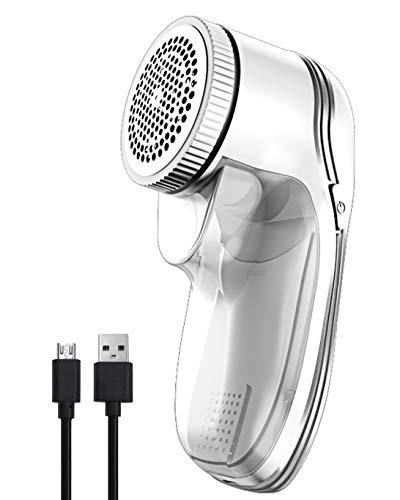 Qooltek Flusenrasierer,USB Wiederaufladbar Fusselrasierer ,Fusselremover,Stoffrasierer,Textilrasierer,Elektrisch Flusenrasierer für Verschiedene Stoffe Kleidung (Weiß)