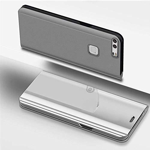 Miagon Spiegel Standing Schutzhülle für Xiaomi Mi 6, Transluzent Aussicht PC-Vorderseite Metall-Galvanotechnik Silber Stilvolle Brieftasche Schale Etui für Xiaomi Mi 6