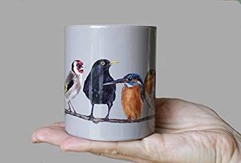 Dishwasher Safe Garden Bird Ceramic Mug / Cup by Irish Artist Grace Scott