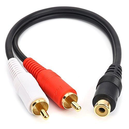 Cinch Buchse auf 2Cinch Stecker Y-Kabel Stereo Audio Kabel mit OFC Leiter Dual Schirmung vergoldet Metall Shell Flexibler PVC-Jacke