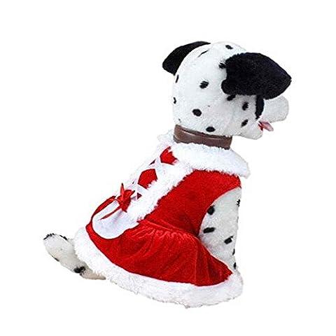 SAMGU Costumes Vêtements pour chien Noël Père chien jupe pour animaux manteau color rouge size X-Small