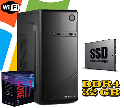PC DESKTOP FISSO Intel i7 8700 / RAM 32GB DDR4 / SSD 480GB HD 1TB / WI FI / MASTERIZZATORE / LICENZA WINDOWS 10