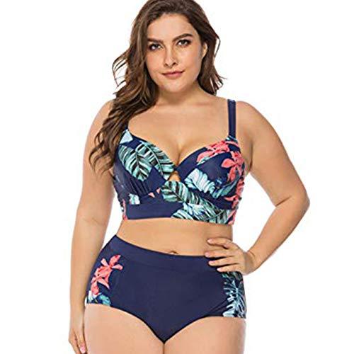 FeelinGirl Bikini Tankini Bademode Badeanzug Monokini Retro Groß Größe Bikini Sets Plus Size Bandeau High Waist Bikini Damen Bauchweg XL Blau