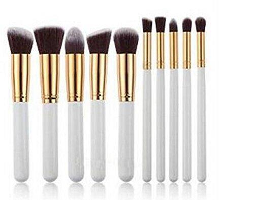 weimay 10pcs Pinceaux de Maquillage professionnel Senior Maquillage outil Pinceau fard à paupières or Kit Blanc de couleur