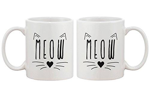 Love Meow Tasse en céramique mignon Hello Kitty visage tasse à café Idéal cadeaux Idées pour les amateurs de chat 11 g Blanc