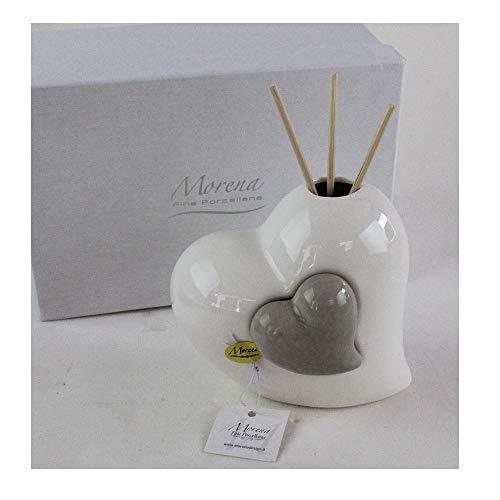 Dlm-29559 (kit 6 pezzi) profumatore grigio coppia cuore in ceramica cuoricino diffusore per ambienti matrimonio comunione nozze battesimo bomboniera bomboniera