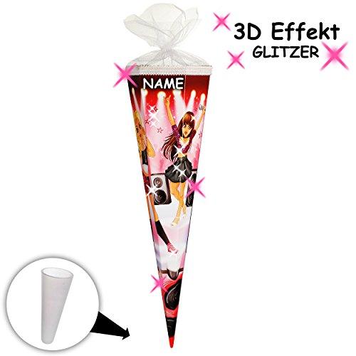 alles-meine.de GmbH passende 3D LED Licht & Leucht - Schleife - für mit _ 3-D Effekt - Glitzer ! _ Schultüte -  Glamour Girl / Sängerin & Rock Star  - 50 / 70 / 85 cm - rund - .. -