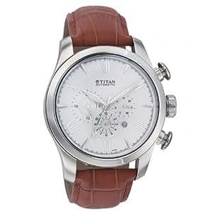 Titan Automatic Chronograph White Dial Men's Watch - NC9377SL01