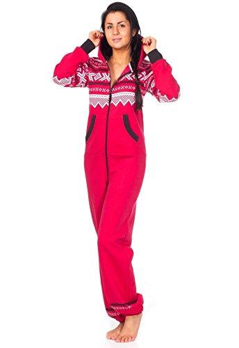 Loomiloo® Jumpsuit Freizeitanzug Overall Hausanzug Einteiler Strampler Body Anzug Jumpsuits Overalls Pyjama Norweger Muster (M/L, Rot)