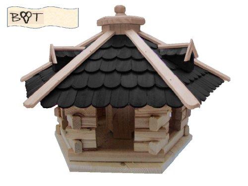 Vogelhaus, Vogelvilla mit Ständer, 68 cm, mit Silo + Fett-Spender, Holz-Schindel schwarz, Futterhaus wetterfest - 2