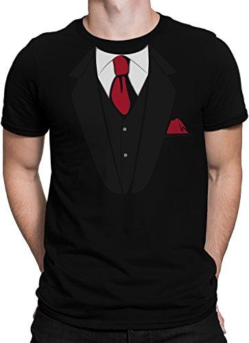 T-Shirt Fake Anzug Krawatte Einstecktuch JGA Bräutigam Plus Geschenkkarte, Größe:L, Farbe:Schwarz/Rot (T Shirt Mit Anzug)