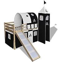 Festnight Kinderhochbett Hochbett aus Holz mit Rutsche Vorhang Turm und Leiter Schwarz und Weiß preisvergleich bei kinderzimmerdekopreise.eu
