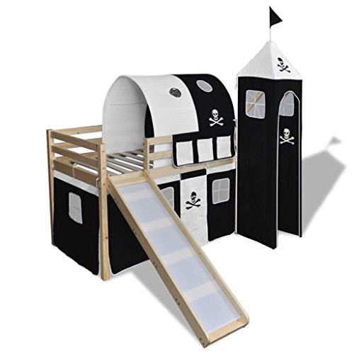 vidaXL Lit Mezzanine d'Enfants avec Toboggan et Echelle Bois Noir et Blanc