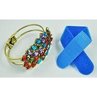 TOOGOO(R) Pulsera de Cristal Multicolor Diseno de Pavo Real Estilo Antiguo + Lazo de Cable Gratuito