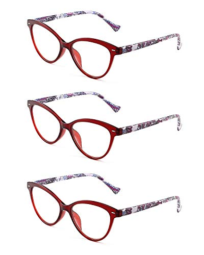 JM 3 Pack Mode Designer Katzenauge Lesebrille Federscharnier Brillen für Leser Damen +1.75 Rot