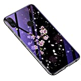 CoverTpu Coque pour Huawei Honor 8X, Coque pour Huawei Honor 8X Silicone+PC Verre Trempé Rigide Ultra Mince, Housse pour Huawei Honor 8X Antichoc Anti-Rayures Protection Etui Fleur