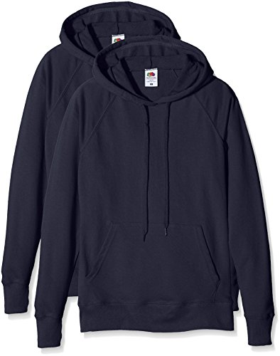Fruit of the Loom Damen Sweatshirt Ladies Lightweight Hooded Sweat Blau (Dark Navy), XL (Hooded Lightweight Pullover)