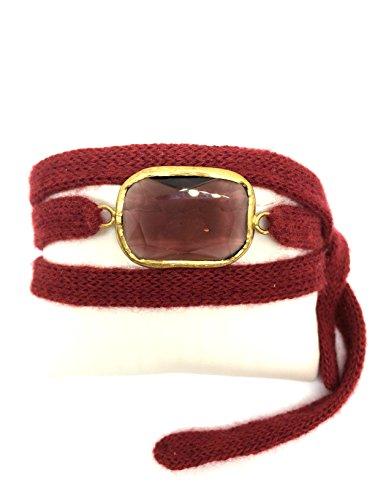 centopercento cashemire Bracelet réglable en cachemire rouge avec cristal Art. Cen BR.