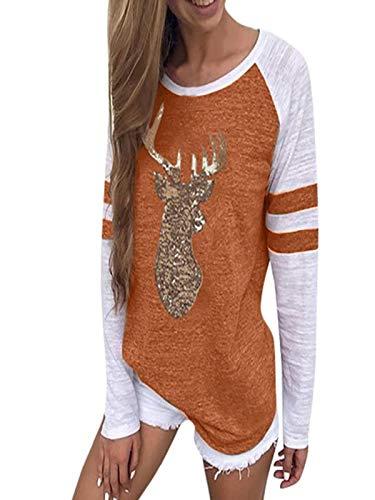 Damen Tops Print Bluse Sleepwear Rentier Blusen T-Shirt Weihnachten Lange HüLsen Oberteile Festival Weihnachten Casual Pullover Shirt Stricken Sweater Strickpullover Sweatshirt(Orange,XXL)