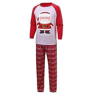 Weihnachts Schlafanzug Pajamas Weihnachten Tops Karierte Hosen Familie Bekleidung,Weihnachtsmann Schneemann mit Rentier.