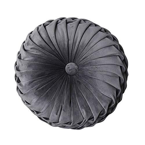 Cushion - Fashion Super European Luxury Velvet Throw Pillow Cushion Round Fabric Handmade Pleated...