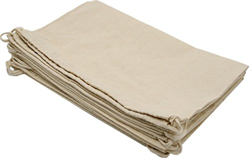 100 Prozent Baumwolle Beutel Mit Kordelzug, Stoffsack Mit Band Zum Zuziehen - Organisch Und Natürlich - (35x43 - 6 Stück, Weiss) (Baumwolle Hobo Handtasche)