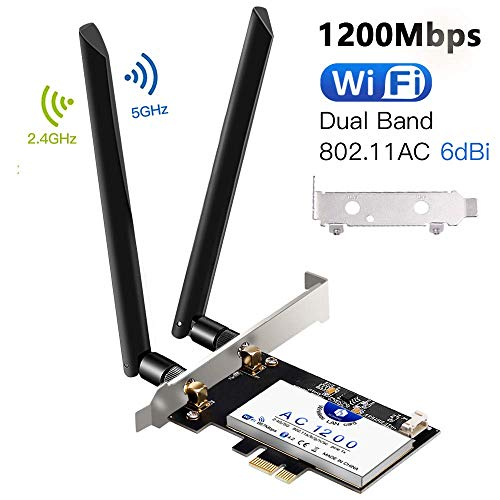 Hommie kabellose Dual-Band-PCI-E-Netzwerkkarte mit Bluetooth 4.2, Intel 7265 AC 1200 Mbit/s Wireless PCI Express-Netzwerkkarte für Win7 / 8/10, Linux 4.2+ (P02W)