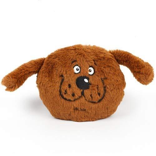 Pet Interactive Toys, Sound Chew Quietschende Plüschtiere, Hund Vocal Vibration Spielzeug Ball Hund Plüsch Spielzeug Ball (Farbe : Braun)