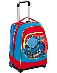 Trolley Big–SJ Animals–Azul Rojo–33lt–Uso mochila Correas Totalmente integrado–Escuela y Viajes