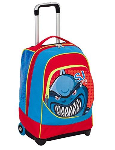 Trolley big - sj animals - blu rosso - 33 lt uso zaino - spallacci a scomparsa totale - scuola e viaggio