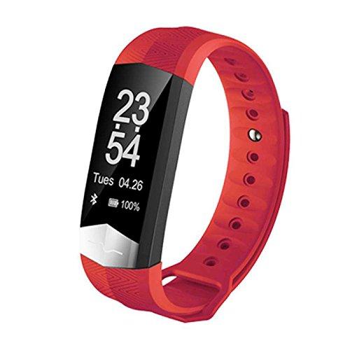 Bluetooth Fitness Armbänd mit Pulsmesser,Smart Fitness Tracker,Aktivitätstracker Schrittzähler Pulsmesser Schlaf-Monitor Kalorienzähler Remote Shoot Outdoor Sports Multifunktions Smart uhr,für iPhone IOS und Android Smartphones