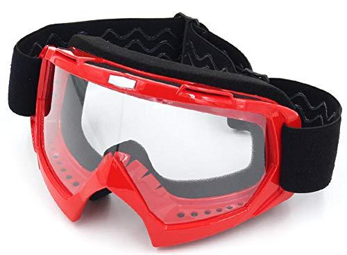 Pkfinrd Motorradbrille/Motocross winddicht staubdicht pilot/snowboard/schnee/ski/wintersport/geländewagen langlaufbrille@Roter Rahmen transparent